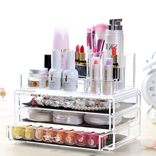 2 Piece Set Clear Acrylic Storage of Cosmetics Makeup Jewelry Organizer Chest Accessory Drawer Casket & Multipose Makeup Storage