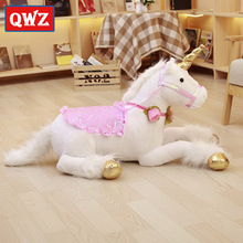 QWZ New 100cm Jumbo Unicorn Plush Toys Giant Stuffed Animal Soft Doll Home Decor Children Photo Props For Kids Christmas Gifts(China)