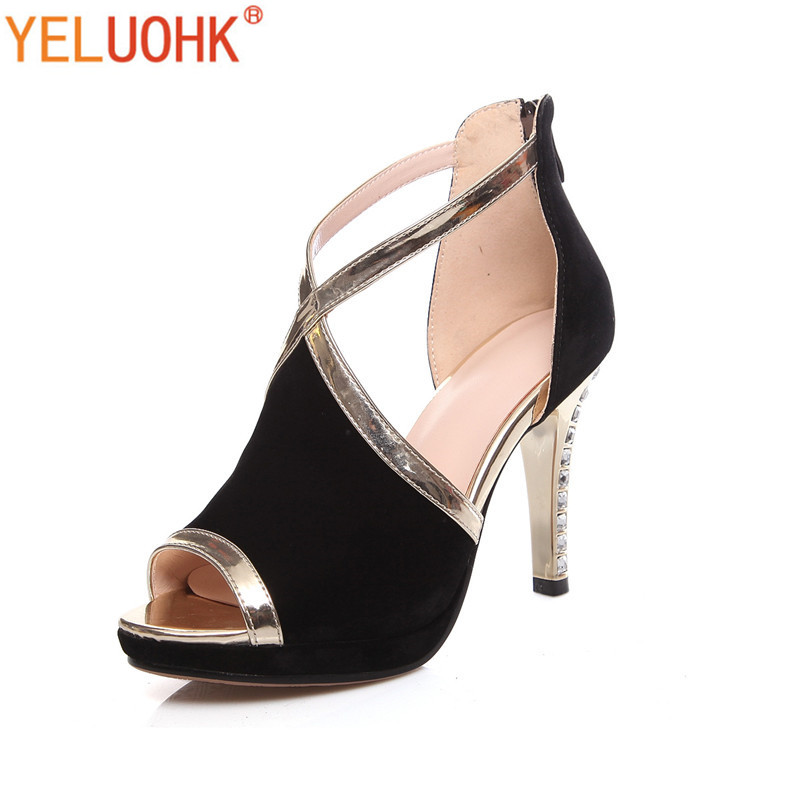 Natural Suede High Heels Shoes Women Shoes High Heels Women Peep Toe High Heels Pumps Autumn<br>