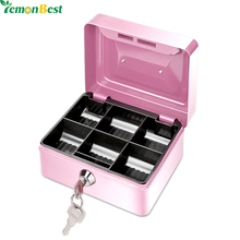 1Pcs Portable Money Box 6 Compartments Coin Cash Mini Safe Box for Home School Office With Tray Lockable Security Box(China)