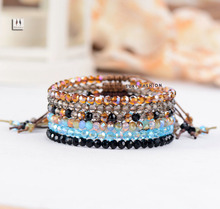 Simple Crystal Bracelet Top Fashion Cristal Bead Adjustable Bracelet Vintage Hollywood Beaded Bohemia Bracelets for women