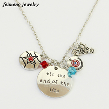 American Drama The Flash Necklaces Til The End Of The Line Letter Crystal Round Bead Pendant Necklaces For Friend Birthday Gift(China)