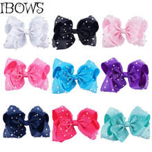 1PC Fashion Pearl Ribbon Big Hair Bows Hair Clips Hair Accessories For Women Wedding Bead Hair Pins Barrettes 7Inch