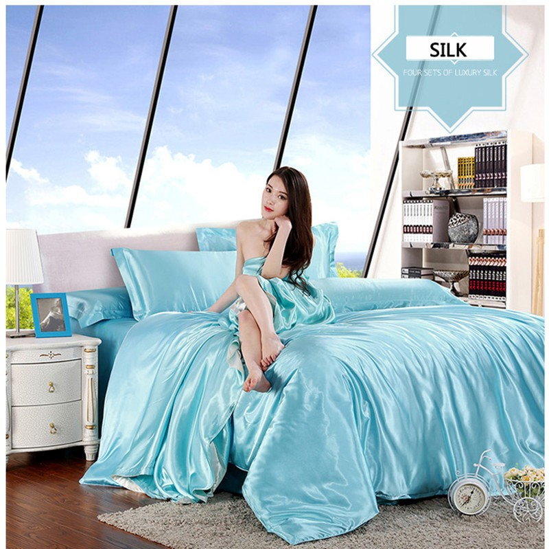HOT! 100% pure satin silk bedding set,Home Textile King size bed set,bedclothes,duvet cover flat sheet pillowcases Wholesale 20