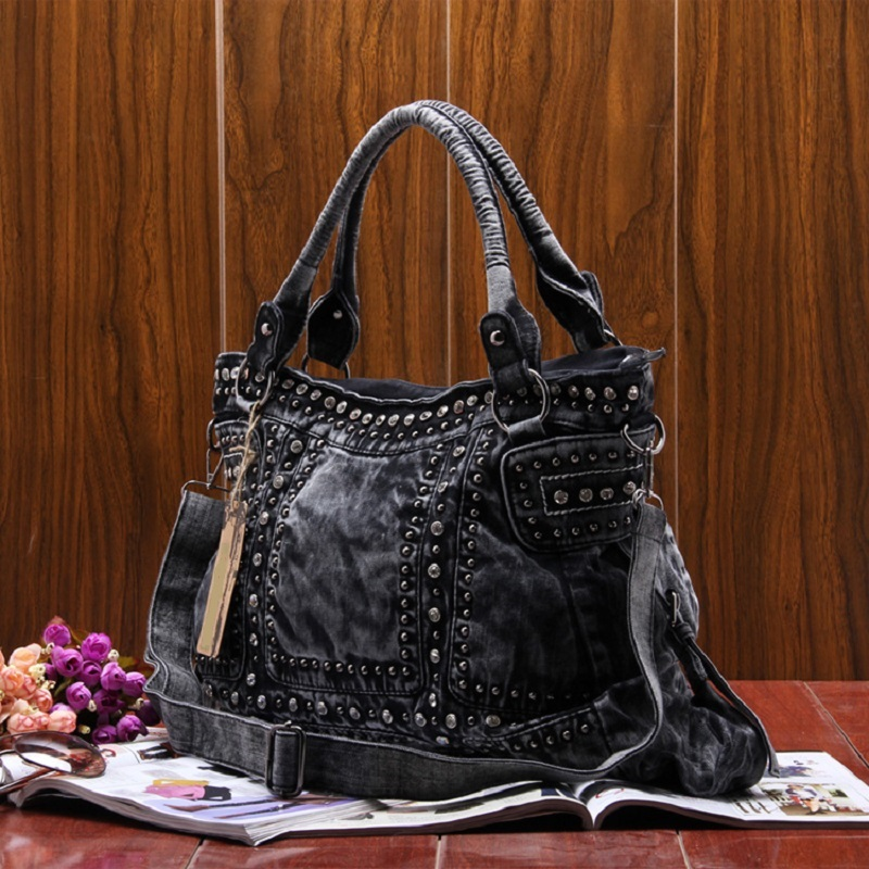 New Vintage Denim Jeans Women Bag HandBags Zipper Shine Rivets Rhinestone Purse Woman Totes Female Shoulder Messenger Bag<br>