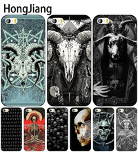 HongJiang satanic scary skull cell phone Cover case for iphone 6 4 4s 5 5s SE 5c 6 6s 7 8 plus case for iphone 7 X(China)