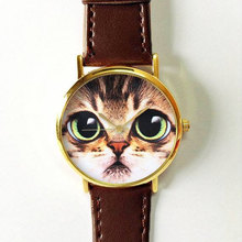 Women Girls Watch 2016 New Cute Big Eye Cat Watch Women And Children Favor Cat Cartoon Watches(China)