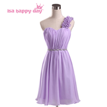 bridesmaids robes short one strap chiffon bridesmaid girl lilac dress strapless party a-line womens dresses neckline candy H1951(China)