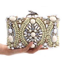 Embroidery Style Vintage Women Evening Bags Beaded Wedding Handbags Day Clutches Rhinestones Bag
