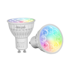 New Arrival Original Dimmable 2.4G Wireless Milight Led Bulb GU10 RGB+CCT Led Spotlight Smart Led Lamp Lighting AC86-265V