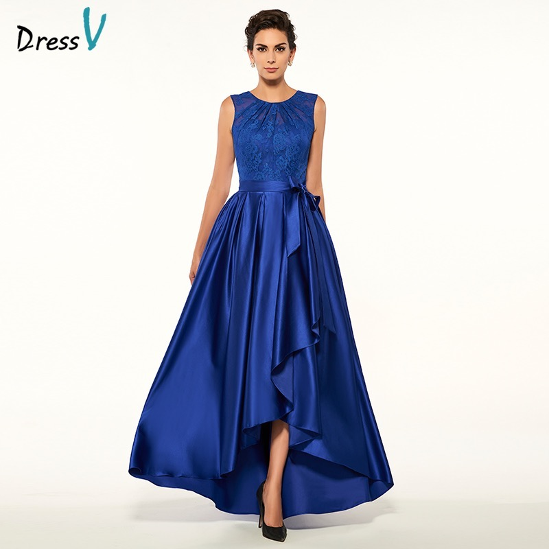 Dressv mother of the bride dress jewel neck a line sleeveless asymmetry wedding party dress dark blue long evening party gown(China (Mainland))