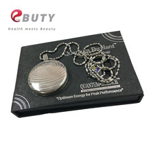 EBUTY Silver Pendant Health Energy Stone Pendants Negative Germanium Balls Fashion Charms with Stainless Steel Chain & Gift Box