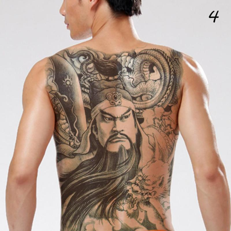 48*35cm Big size buddha ghost totem tattoo stickers men women waterproof full back body temporary tattoos RP2 5