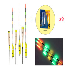 3pcs/lot Led Electronic Fishing Float With Battery Balsa Wood Night Vision Electric Float Fishing Tackle Luminous Float