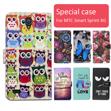 Fashion cartoon printed flip wallet leather case for MTC Smart Sprint 4G with Card Slot phone bag book case,free gift