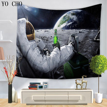 YO CHO 3d Sky Moon Wall Hanging For Home Room Dorm Accessories Bohemian Decor Rug Galaxy Wall Blanket Star Psychedelic Tapestry(China)