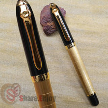 FREE SHIPPING BAOER 701 SQUARES BLACK AND GOLDEN ROLLER BALL PEN