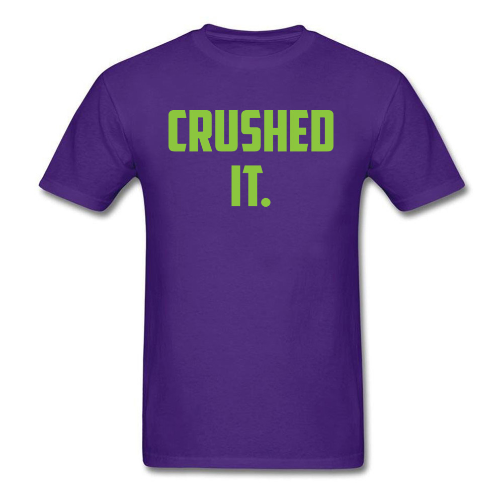 Crushed It Summer T-Shirt for Men Pure Cotton Labor Day Tops Tees Print Tee Shirt Short Sleeve Retro Round Neck Crushed It purple