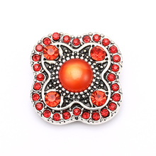 Red Rhinestone Stone Antique Silver Snap Buttons Pearl Center Buttons Jewelry for 18mm-20mm DIY Snap Bracelet Bangles Making