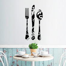 Fork Knife Spoon Wall Decals Kitchen Bakery Store Window Glass Cabinet Decor Wall Stickers Removable PVC Wall Posters Mural