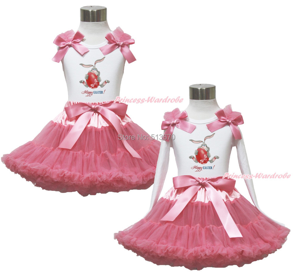White Pettitop Top Shirt Happy Easter Bunny Egg Printing Dusty Pink Bow Pettiskirt Dress Set 1-8Y MAPSA0537<br>