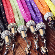 Popular Bling Luxury Diamond Crystal Mobile Phone Lanyard Strap Candy Color Colorful Hanging Neck Rope Telephone Belt Hang Chain