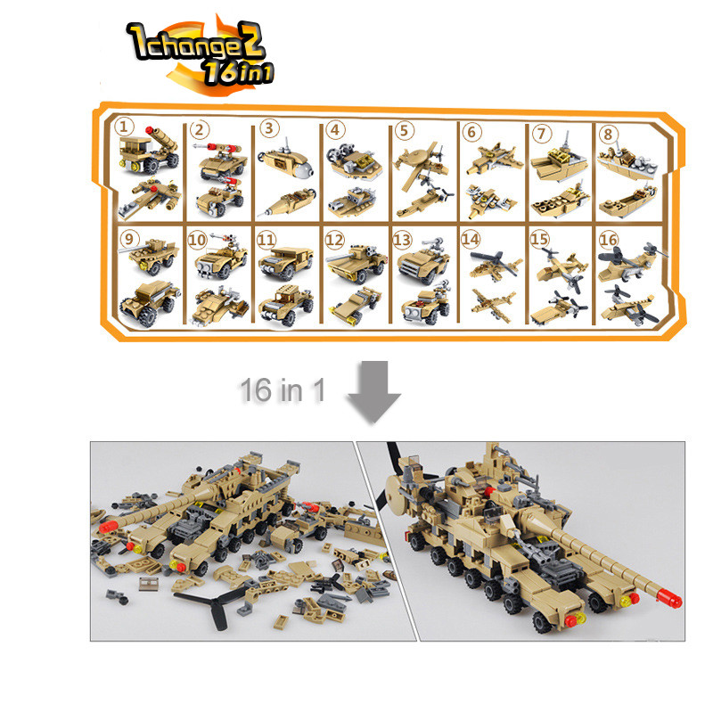 KAZI-544PCS-16-in-1-Army-Tank-Building-Blocks-Bricks-Military-Compatible-Legoe-Weapons-Brinquedo-Menina (1)
