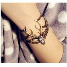 Buy New Arrival Vintage Punk Rhinestone Bronze elk Cuff Bangle Retro Bracelet Wholesale Bracelets & Bangles Summer Jewelry for $1.41 in AliExpress store
