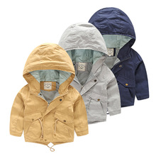 For 2-8 Yrs Baby Boy Coat Jacket  Boy Hooded Windbreaker Outerwear & Coats Autumn Cotton Fashion Casual Kids Children's Cloth