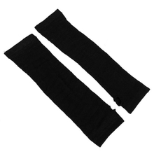 NEW Ladies Winter Stretchy Cuff Fingerless Black Knitted Long Gloves Arm Warmer Pair(China)