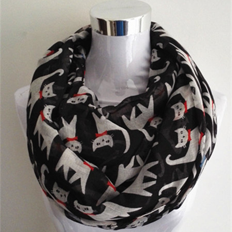 10pcs/lot New Fashion animal print  Scarf Snood Running Cat infinity scarf hot sale lady scarves ring scarf for women