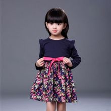 2017 Fashion Children Girls Long Sleeve with Sashes Cute Kids Flower Pattern Print Dress Fit For 2-7Y A4