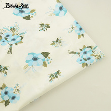 Booksew 100% Cotton Fabric Twill Blue Flower Design Soft Cloth Quilting Bed Sheet DIY Patchwork Scrapbooking Doll Home Textile(China)