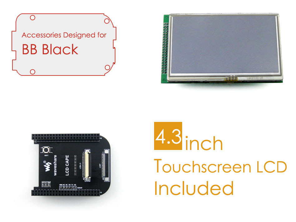 Parts BeagleBone Black Accessories Package C=LCD Connection Board Cape+ 4.3inch LCD Screen+ Cables for ARM Cortex-A8 Development<br>