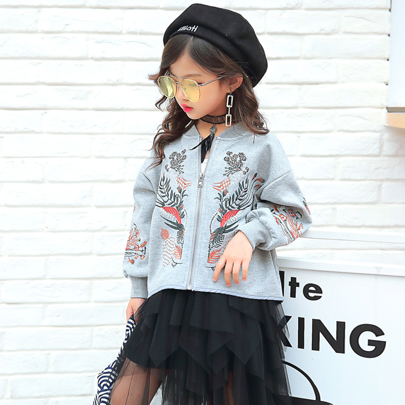 2017 Full Fashion Limited Embroidery Style Jacket For Girls Clothes For Zipper Coat Flower Baby Girl Coats Winter Children <br>