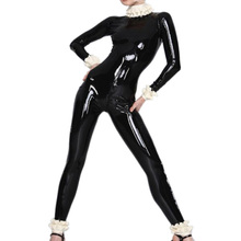 Buy Black Latex Catsuit White Lacework Back Zipped Catsuit Bodysuit Latex Rubber Tights Jumpsuit Zentai