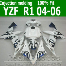 Injection molding for YAMAHA R1 fairing kit  2004 2005 2006 blue flames in white fairings set 04 05 06 YZF R1 AS13