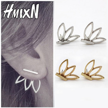 feather Front Back butterfly leaves wing Earrings metal Korean Hollow Out Flower Minimalist simple Stud Earring Pending Brinco