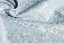 Vintage Blue Jacquard Brocade Cotton Poly Fabric Upholstery cloth Material(China)