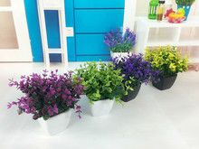 The simulation of single Eucalyptus Eucalyptus Flower 5 artificial flowers small fork with wood wall plastic parts plant grass(China)