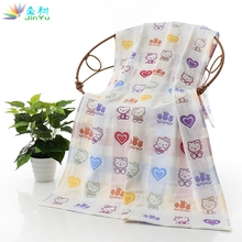 1pcs 70*140cm Three Layers Printed of Baby Bath Towels Gauze Thicker Cotton Rectangle Children Compressed Towel Wholesale(China)