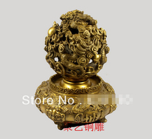 ZSR914+++Bronze sculpture, copper incense burner decoration events furnace basons turned the corner Bronze statue copper(China)