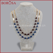 Buy BOROSA Natural Drusy Crystal Titanium Gold Color Blue/Purple Druzy Beads Long Necklace Drusy Beads Chain Women G1360 for $21.60 in AliExpress store