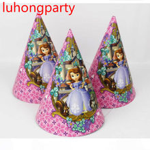 12pcs Princess Girl Girl kids Paper Hats Caps with strings children party Supplies Favor Cartoon character