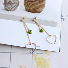 Free Shipping Exquisite Women's Jewelry Double Chain Love Shape Fashion Earrings Elegant Simple Beauty Girl Accessories popular