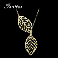Modern Necklaces Style Leaf  Design Gold-Color Silver Color Necklaces &Amp Pendants For Women Lady's Bijoux Jewelry Gorjuss