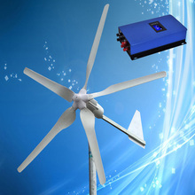 Low Start Wind Speed 1000W 24V Wind Turbine with 5PCS Blades + 1000W 24V Grid Tie Wind Inverter, CE Approved + 3 Years Warranty(China)