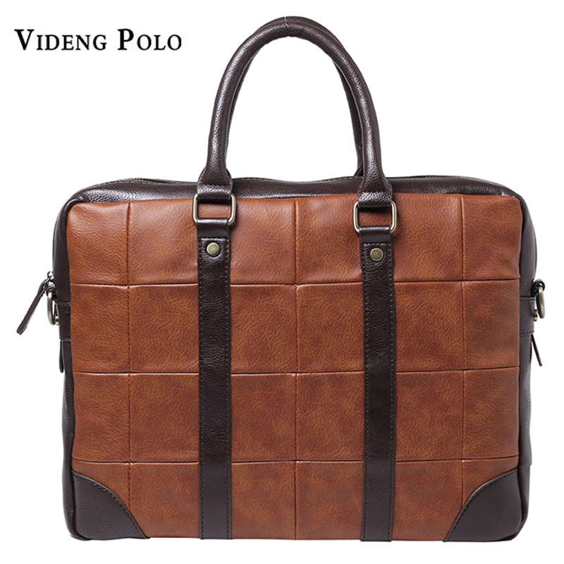 VIDENG POLO Brand Men Bag Leather Business Briefcase Vintage Crossbody Shoulder Bag Mens Laptop Handbag Tote maletin hombre<br>
