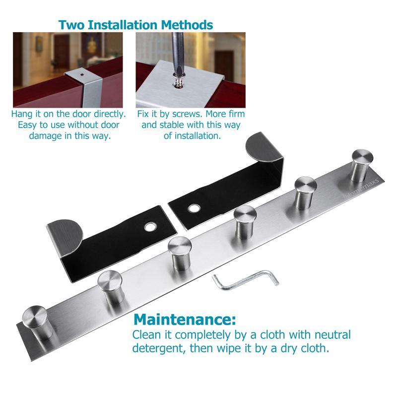 Bathroom Hardware Home Improvement Multi Functional Stainless Steel Wall Mounted Hook Rack Hook Rail Coat Rack 6 Hooks Home Storage Organization Bedroom Bathroom