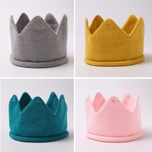 2017 Fashion Colorful Baby Newborn Photo Props Kids Caps Baby Crown Knitted Headband Hat Photography Accessories Birthday Cap(China)